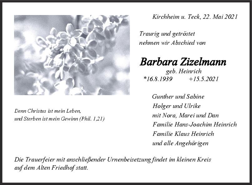 Trauer Barbara Zizelmann <br><p style=