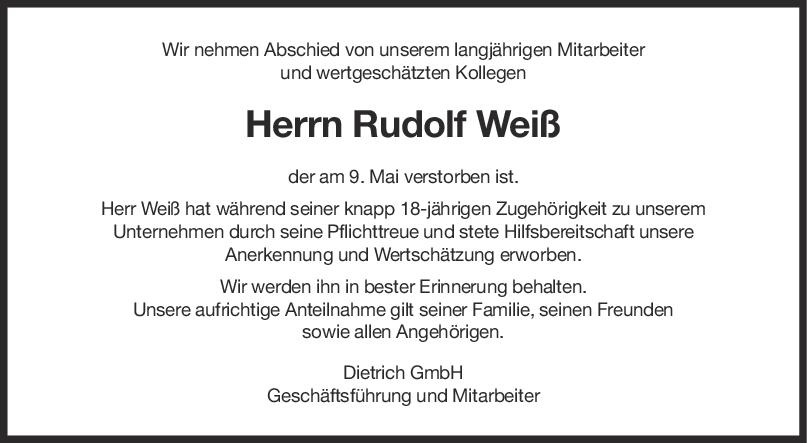 Nachruf Rudolf Weiß <br><p style=