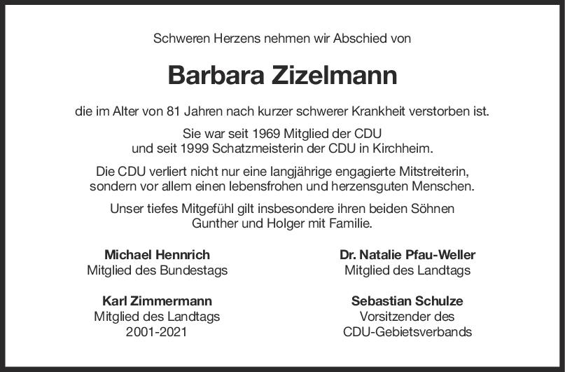 Nachruf Barbara Zizelmann <br><p style=