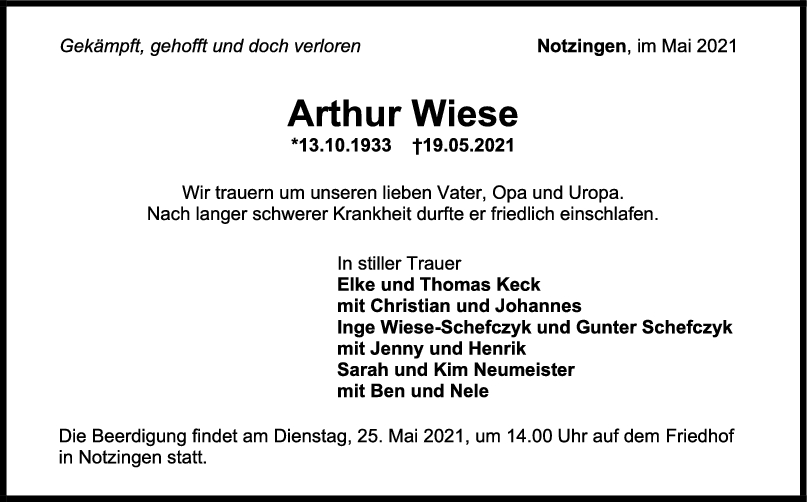 Trauer Arthur Wiese <br><p style=