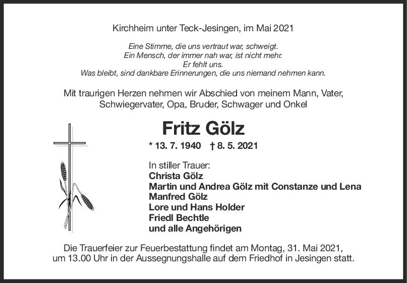 Trauer Fritz Gölz <br><p style=