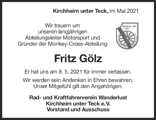 Nachruf Fritz Gölz <br><p style=