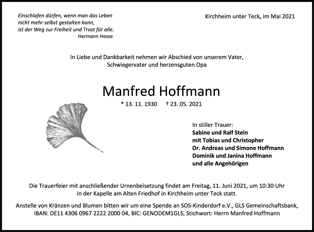 Trauer Manfred Hoffmann <br><p style=