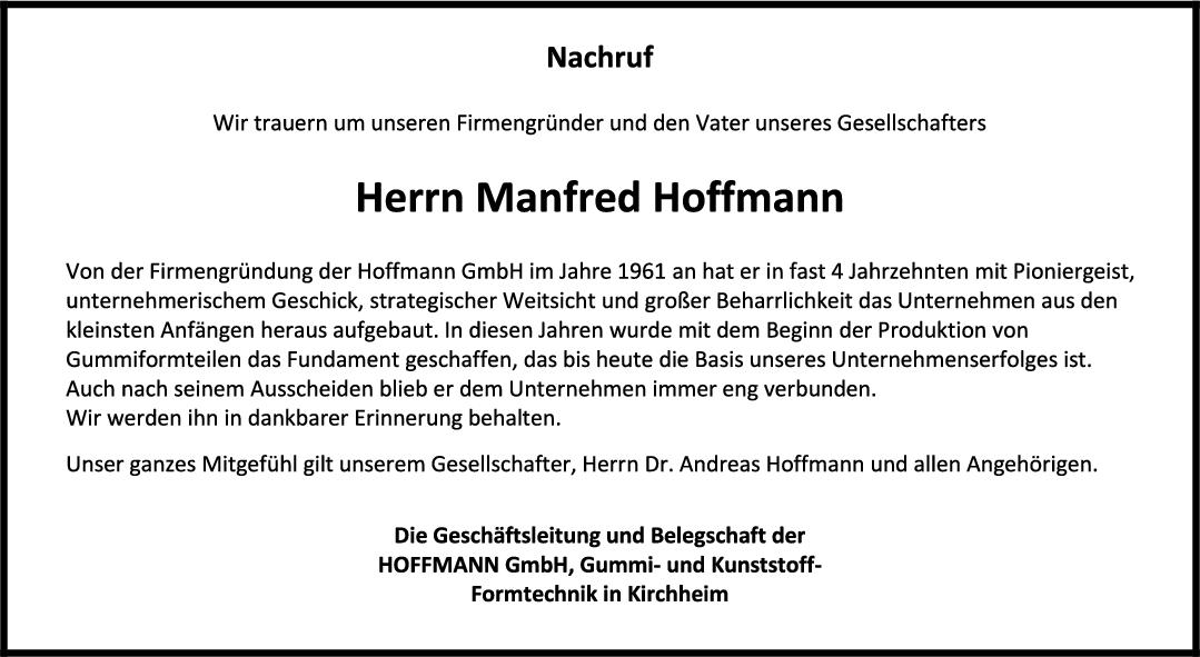 Nachruf Manfred Hoffmann <br><p style=
