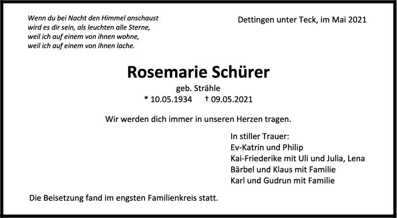 Trauer Rosemarie Schürer <br><p style=