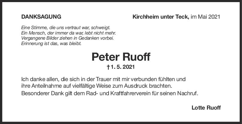 Danksagung Peter Ruoff <br><p style=
