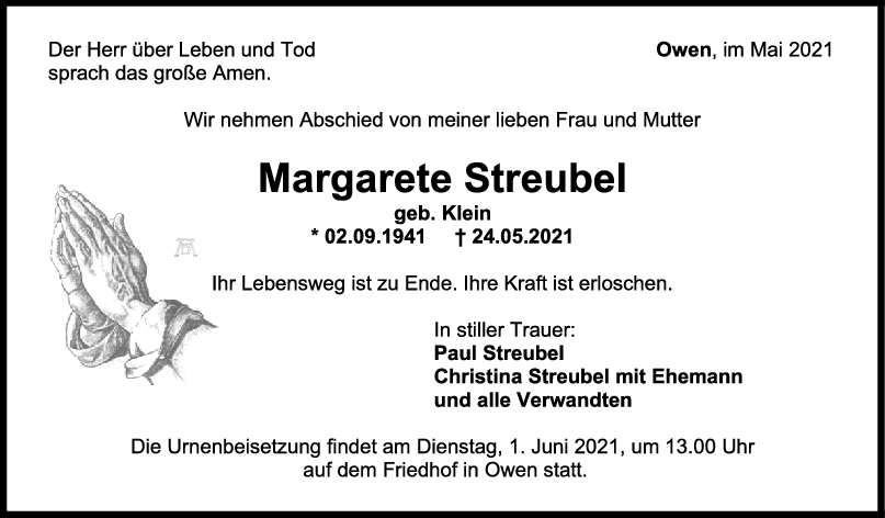 Trauer Margarete Streubel <br><p style=