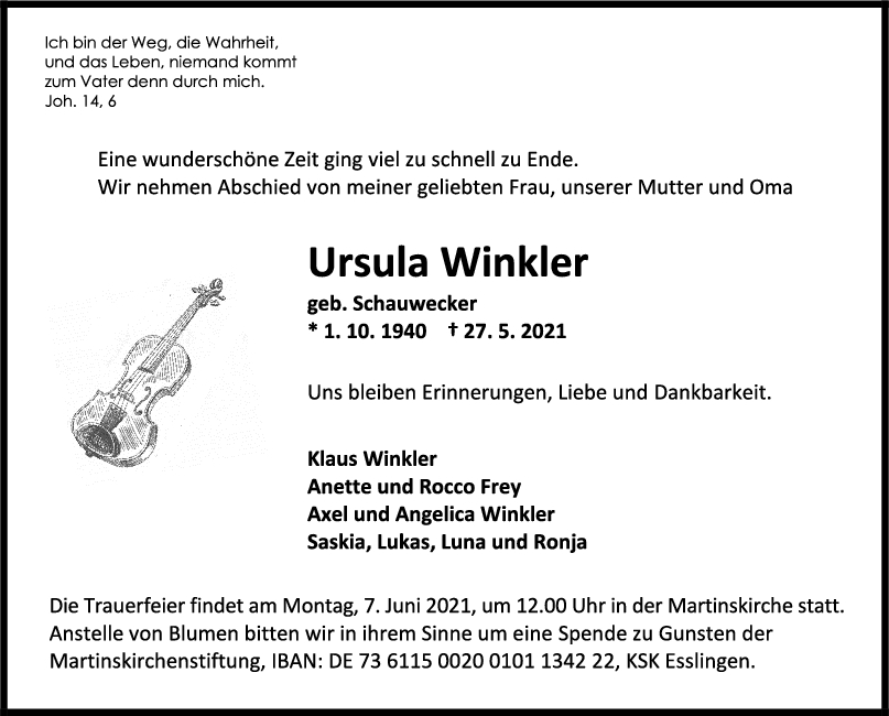 Trauer Ursula Winkler <br><p style=