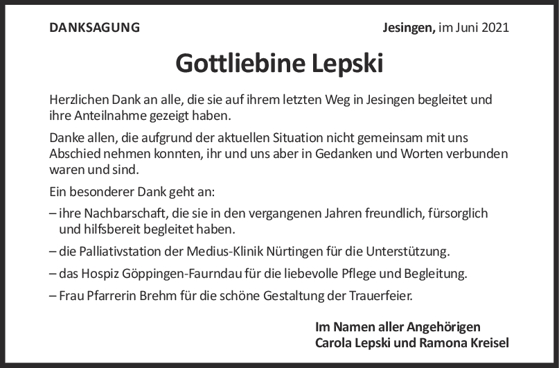 Danksagung Gottliebine Lepski <br><p style=