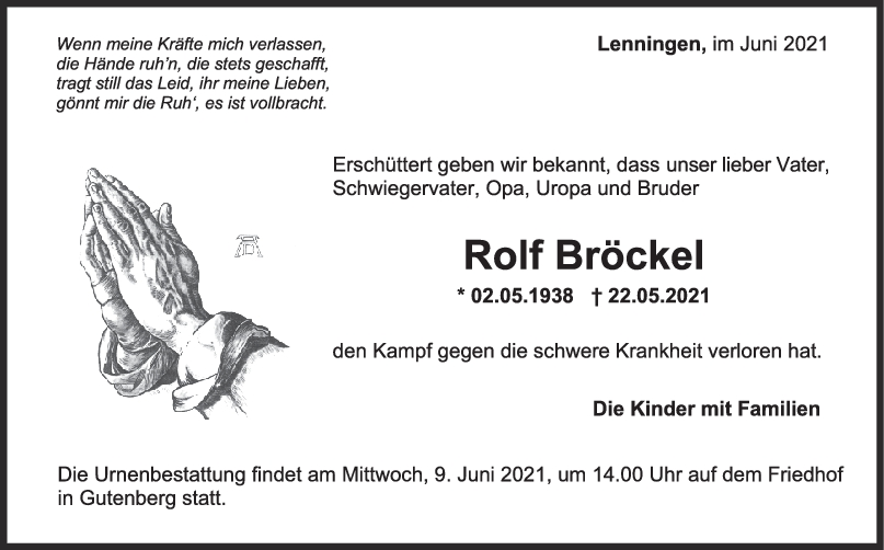 Trauer Rolf Bröckel <br><p style=