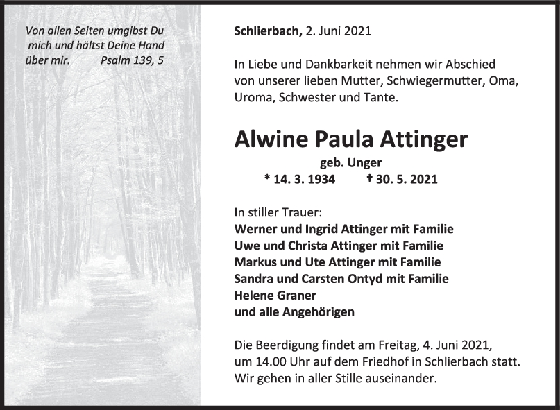 Trauer Alwine Paula Attinger <br><p style=