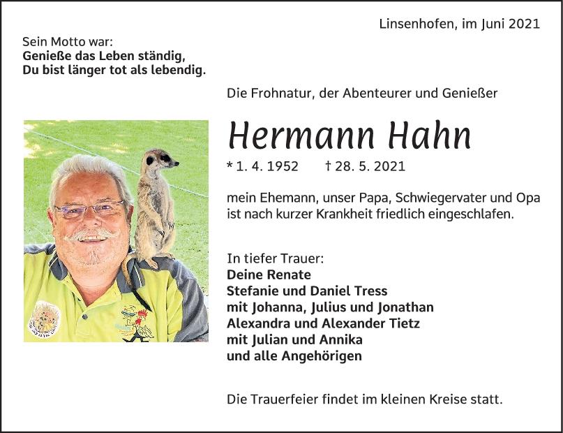 Trauer Hermann Hahn <br><p style=