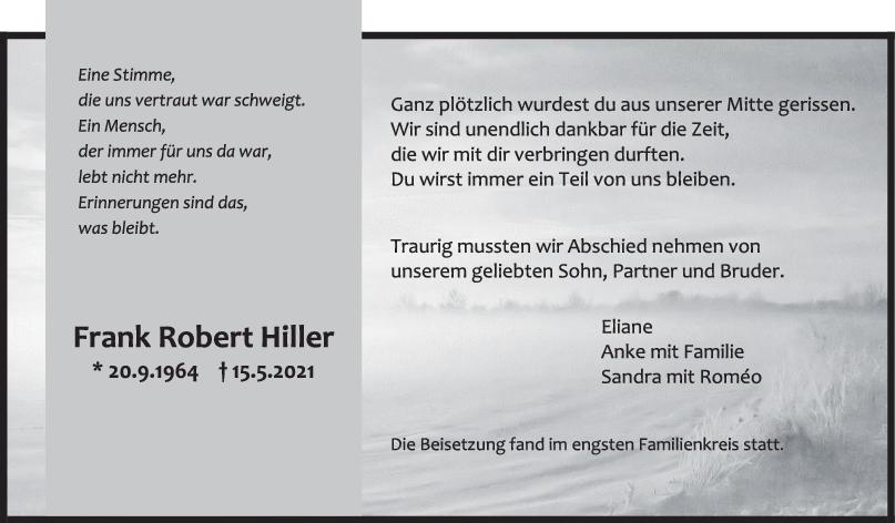Trauer Frank Robert Hiller <br><p style=