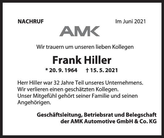 Nachruf Frank Hiller <br><p style=