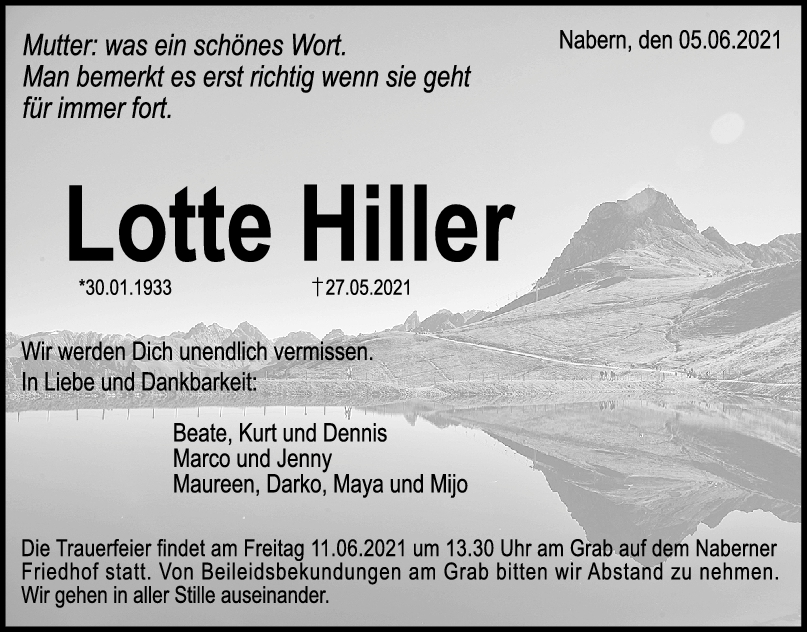 Trauer Lotte Hiller <br><p style=