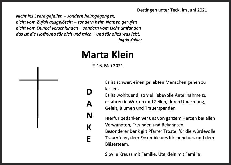 Danksagung Marta Klein <br><p style=