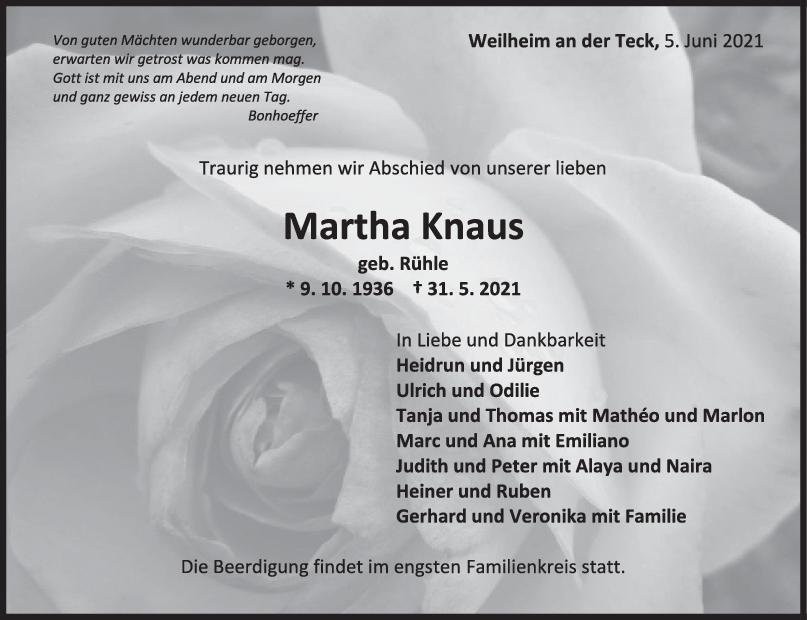 Trauer Martha Knaus <br><p style=