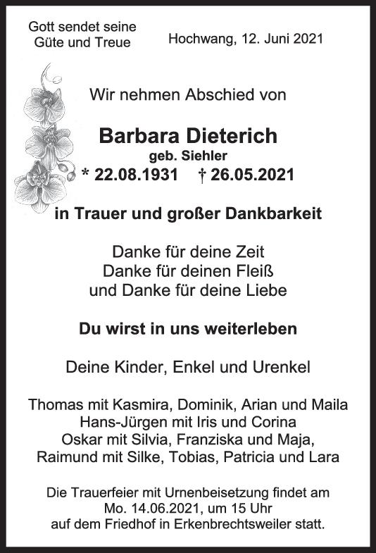 Trauer Barbara Dieterich <br><p style=