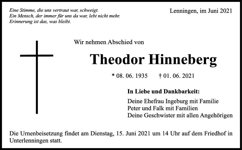 Trauer Theodor Hinneberg <br><p style=