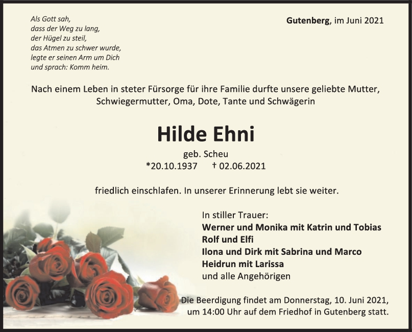 Trauer Hilde Ehni <br><p style=