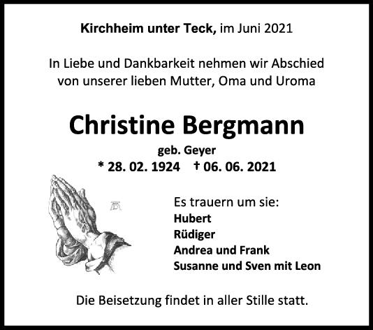 Trauer Christine Bergmann <br><p style=