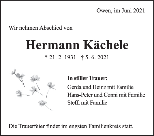 Trauer Hermann Kächele <br><p style=