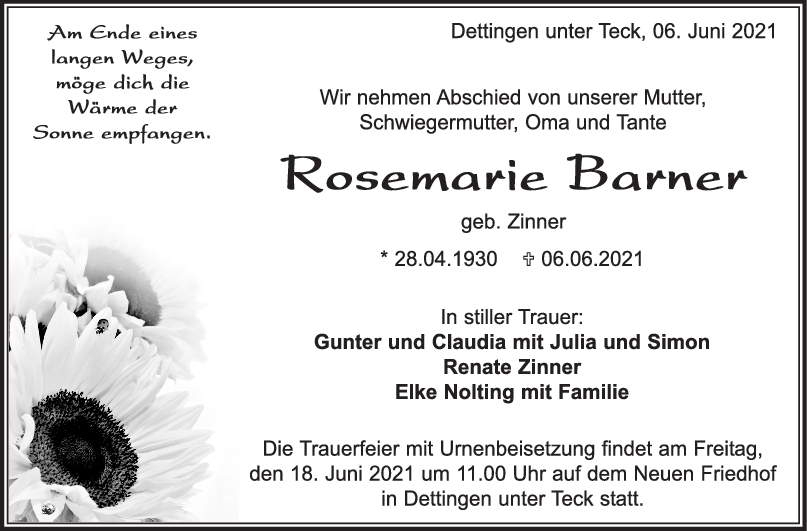 Trauer Rosemarie Barner <br><p style=