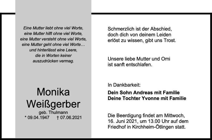 Trauer Monika Weißgerber <br><p style=