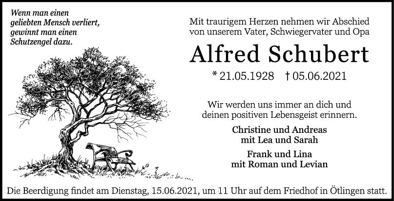 Trauer Alfred Schubert <br><p style=