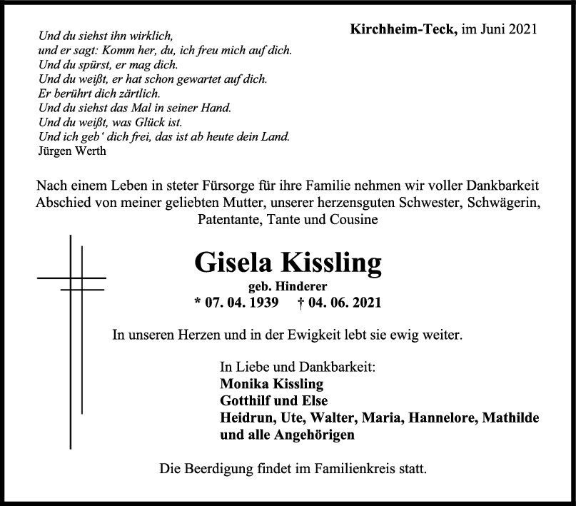 Trauer Gisela Kissling <br><p style=