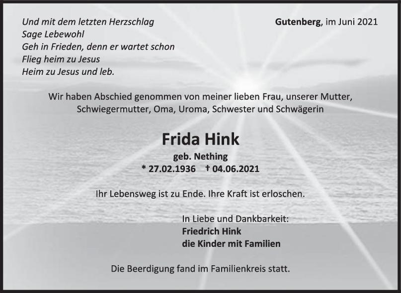 Trauer Frida Hink <br><p style=