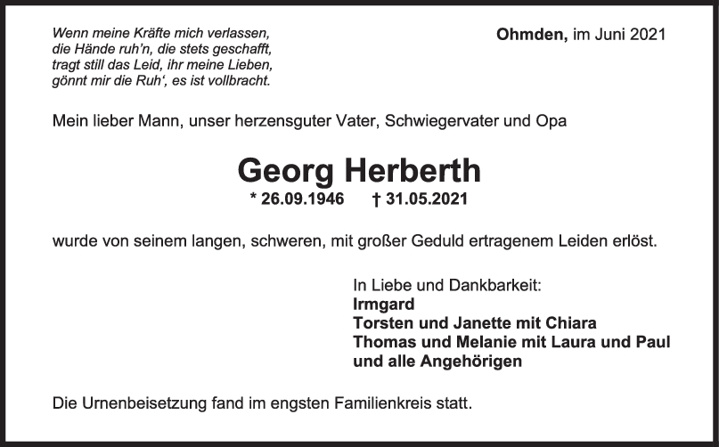 Trauer Georg Herberth <br><p style=