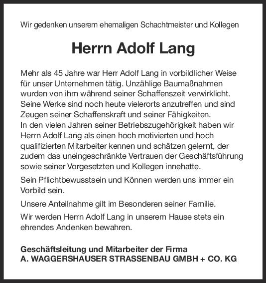 Nachruf Adolf Lang <br><p style=