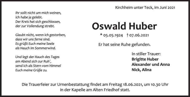 Trauer Oßwald Huber <br><p style=