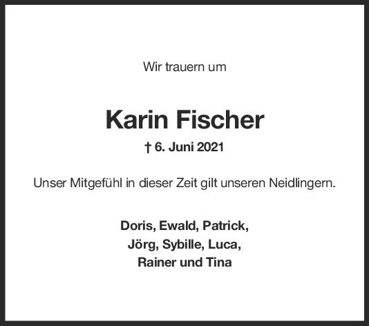 Nachruf Karin Fischer <br><p style=