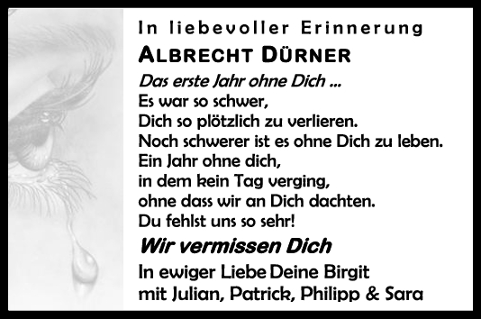 Nachruf Albrecht Dürner <br><p style=