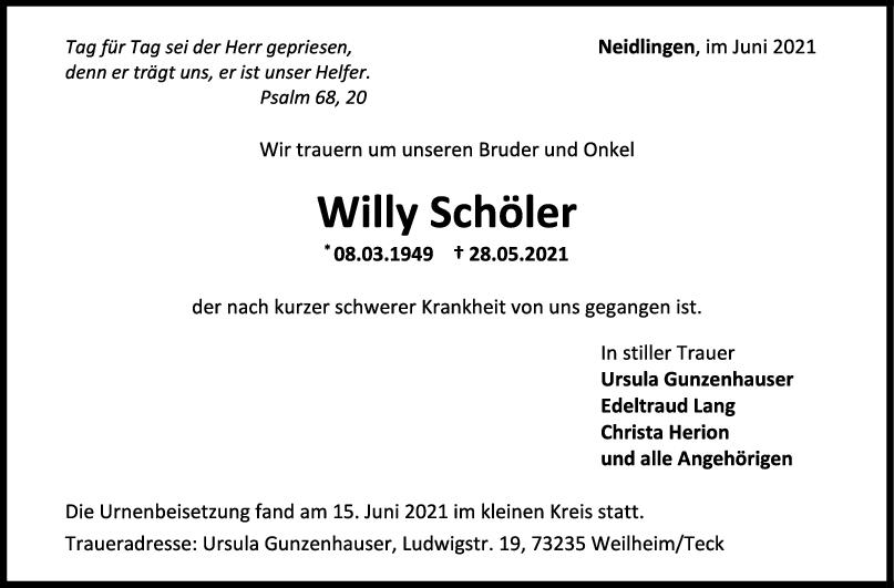 Trauer Willy Schöler <br><p style=