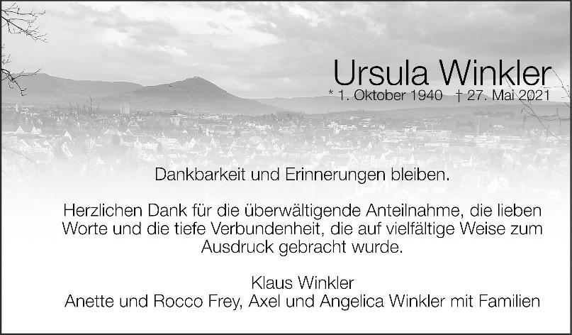 Danksagung Ursula Winkler <br><p style=