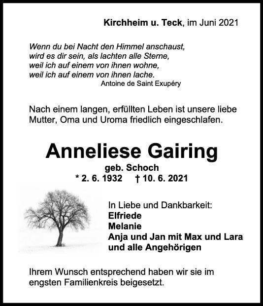 Trauer Anneliese Gairing <br><p style=