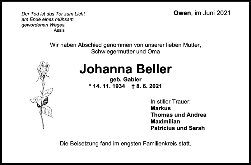 Trauer Johanna Beller <br><p style=