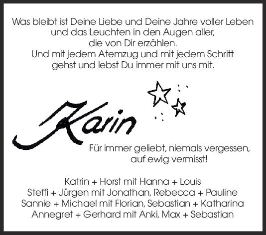Nachruf Karin <br><p style=