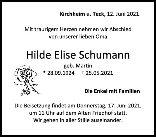 Trauer Hilde Schuhmann <br><p style=