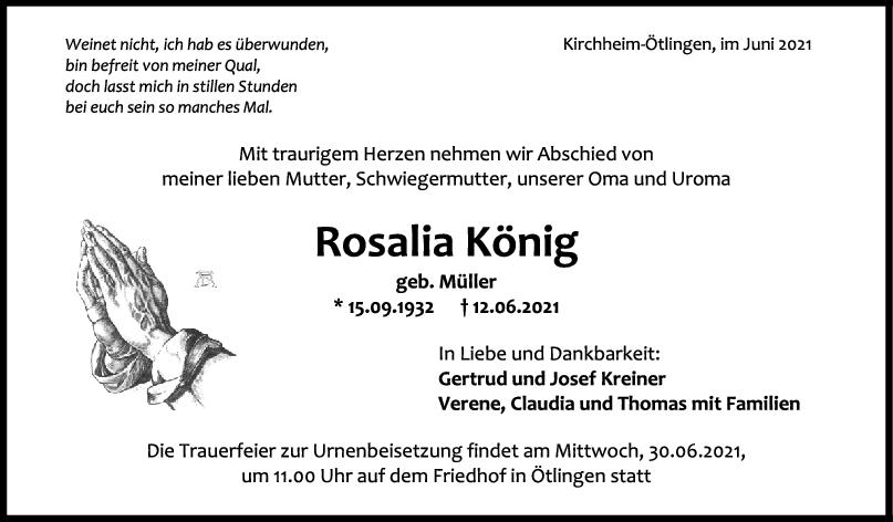 Trauer Rosalia König <br><p style=