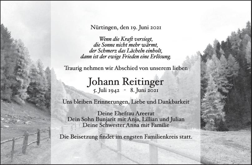 Trauer Johann Reitinger <br><p style=