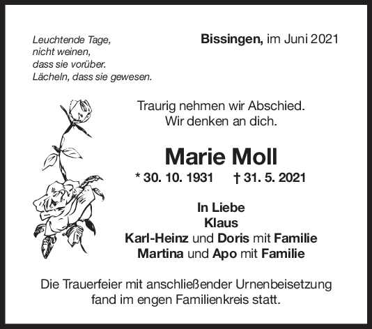 Trauer Marie Moll <br><p style=