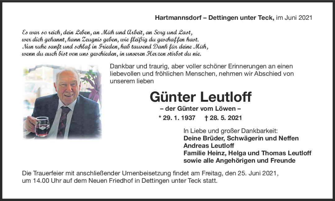Trauer Günter Leutloff <br><p style=
