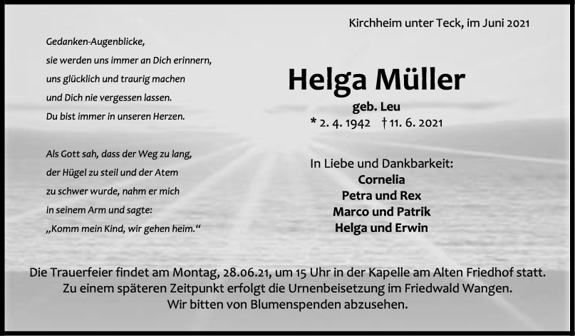 Trauer Helga Müller <br><p style=