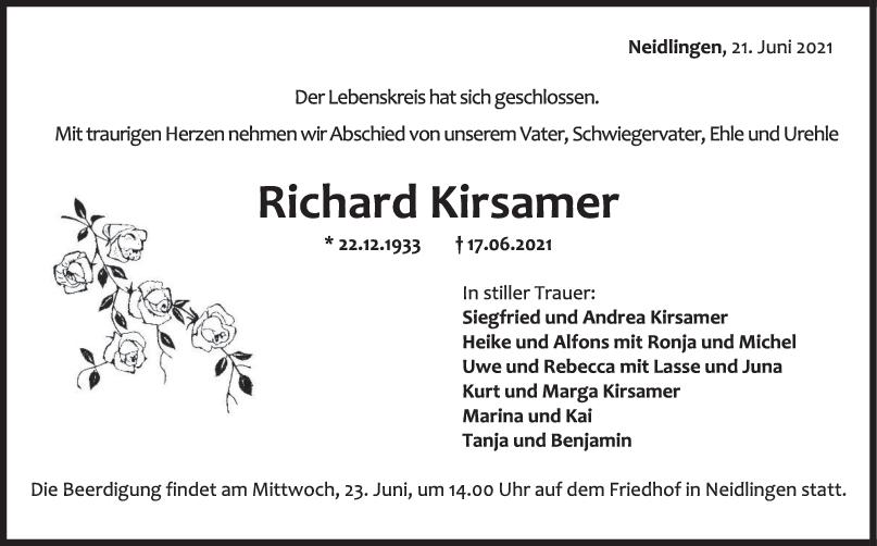 Trauer Richard Kirsamer <br><p style=