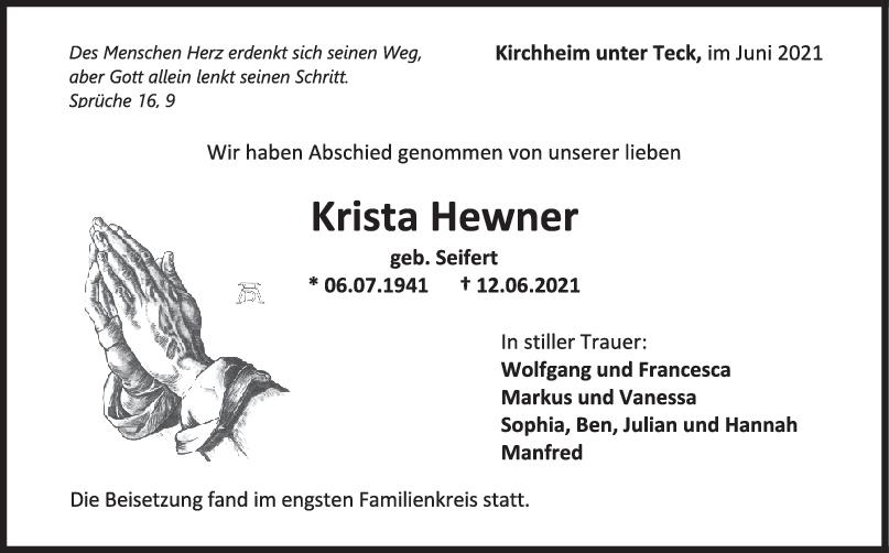 Trauer Krista Hewner <br><p style=