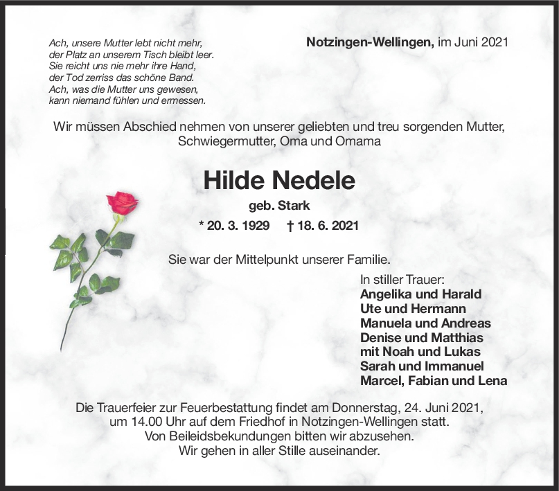 Trauer Hilde Nedele <br><p style=